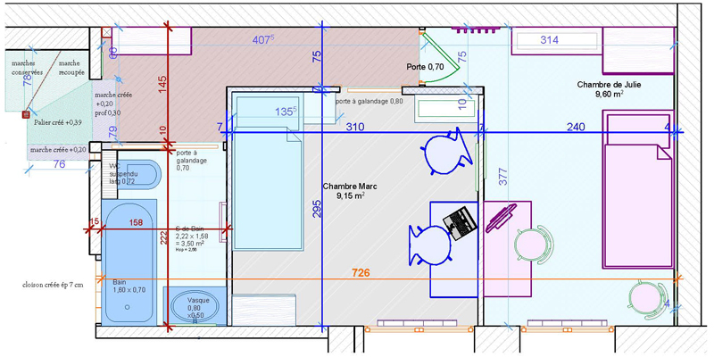 Agencement Plan SdB chambres